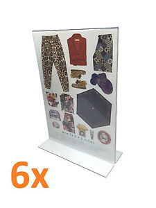6x A4 Perspex Double Sided Menu/Sign Holder