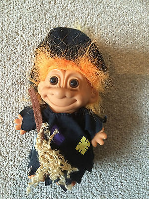 """Russ Troll Witch with Broomstick and Hat Orange Hair 4"""" Tall Vintage"""