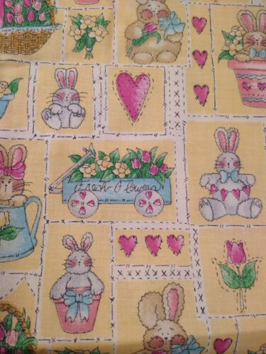 vintage fabric 100% cotton quilting Easter material bunnies yellow Marcum Marcus