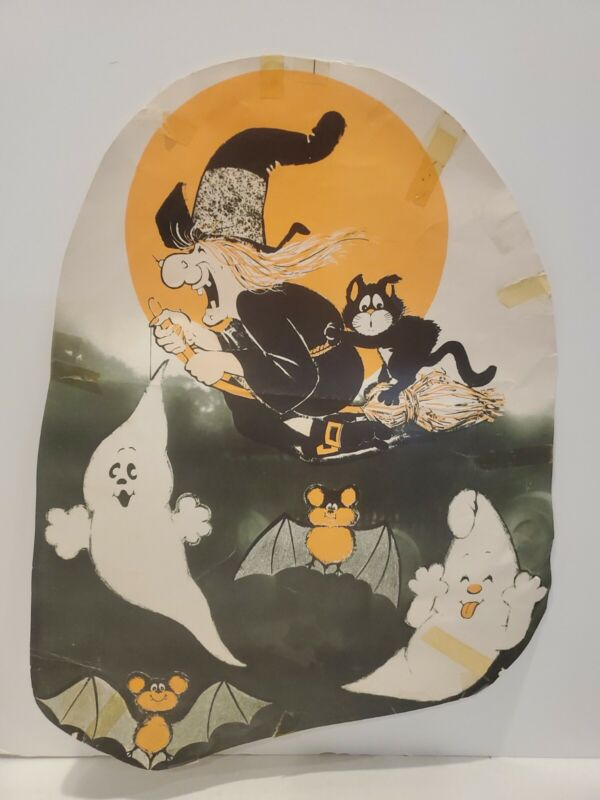 Vintage Antique Halloween Paper Wall Decoration 17x12 1940s-50s ? Cartoon Witch