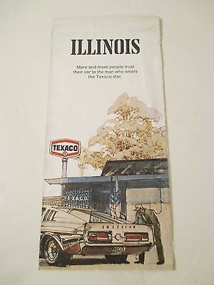 Vintage 1971 TEXACO ILLINOIS State Gas Service Station Road Map