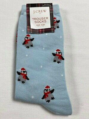 NWT J. Crew Trouser Socks One Size OSFA Dancing Baby Penguins Print