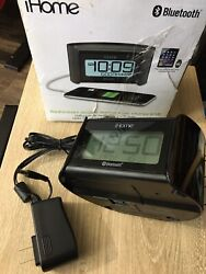 iHome Dual Alarm Clock Radio Bluetooth Wireless USB Charging Tested Antenna