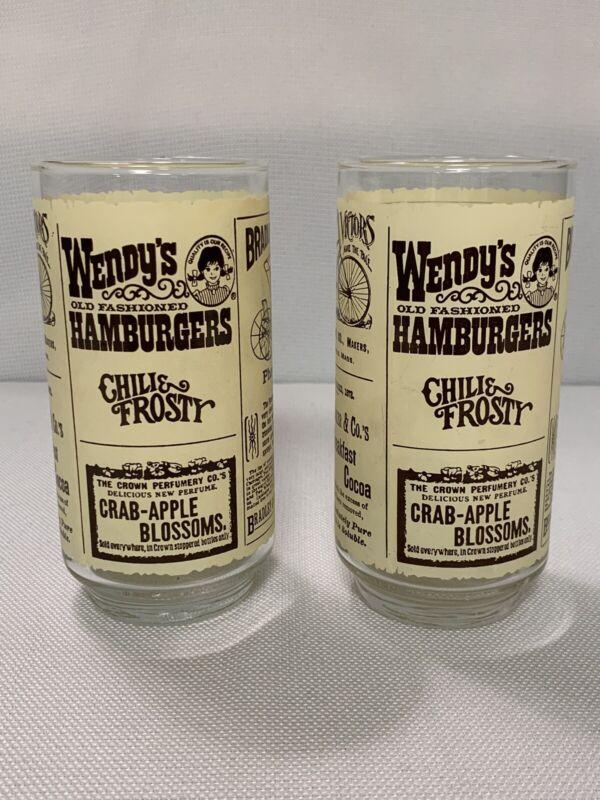 Set of 2 Vintage Wendy's Hamburgers Advertising Drinking Glasses Chili & Frosty