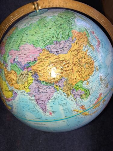 Replogle 12 Inch World Globe With a Floor Stand Ec raised mountains blue ocean