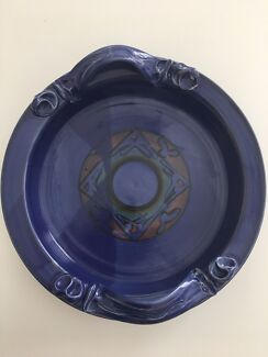 Purple bowl/ tray with decorative handle
