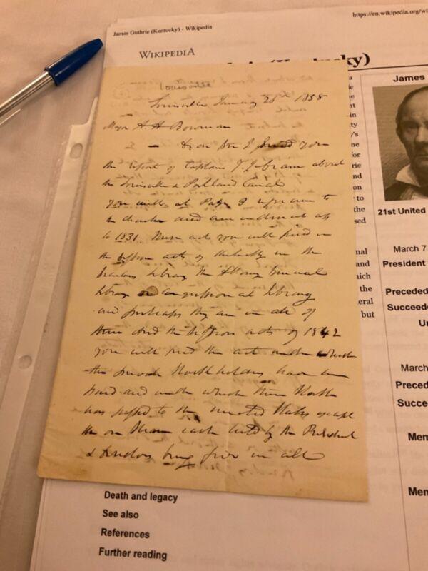 263 Kentucky Civil War Notable James Guthrie 1858 Letter Sec of Treasure See bio