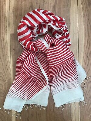 Khadi And Co BESS NIRLSEN White and Red Striped Linen Scarf Shawl RRP £175