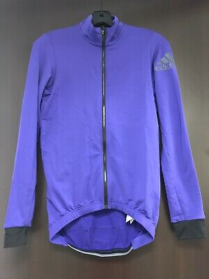 Mens Size Medium Adidas Climaheat Cycling Full Zip Jacket Blue BR7913