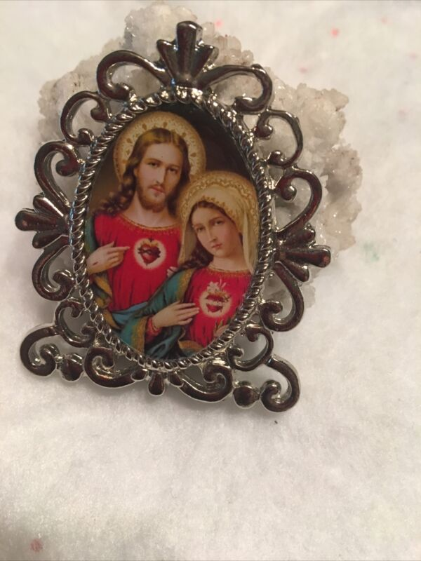 Sacred Heart of Jesus and Immaculate Heart of Mary Religious Mini Standing Plaqu
