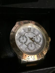 Gold and jade face men's watch