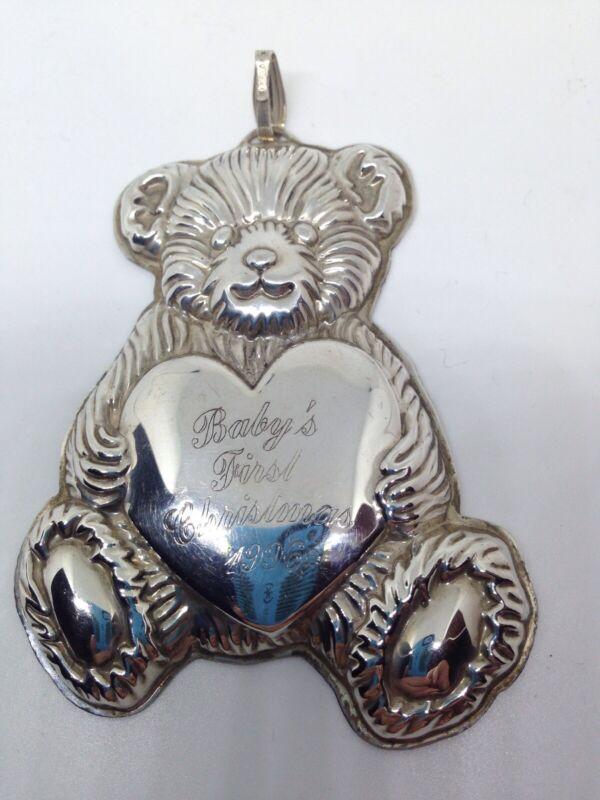 REED & BARTON - Sterling Silver TEDDY BEAR CHRISTMAS ORNAMENT - Baby
