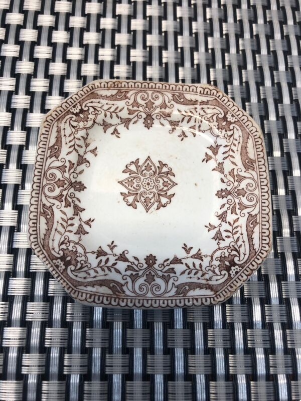 """Antique T&R Boote TOURNAY Brown White Stafford Shire Butter Pat 3 1/4"""" England"""