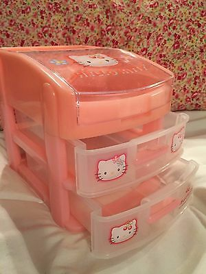 1998 HELLO KITTY 3 drawer  Pink Plastic Storage Organizer Unit *RARE*VINTAGE!