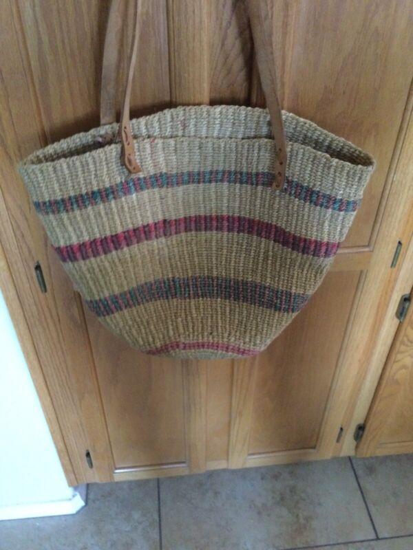 Vintage African  Woven Basket Purse Long Leather Strap