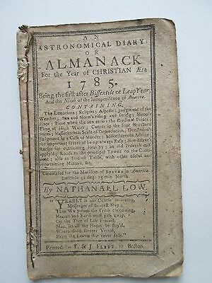 ORIGINAL 1785 ALMANACK(sic) by NATHANAEL(sic) LOW BOSTON