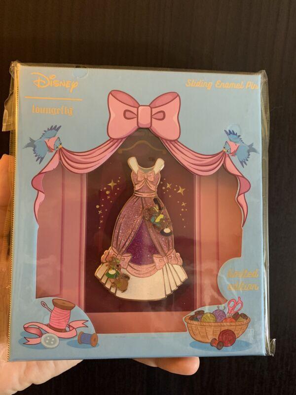 Cinderella LE 500 Glitter Pink Dress Pin- Loungefly- Gus Jaq Birds