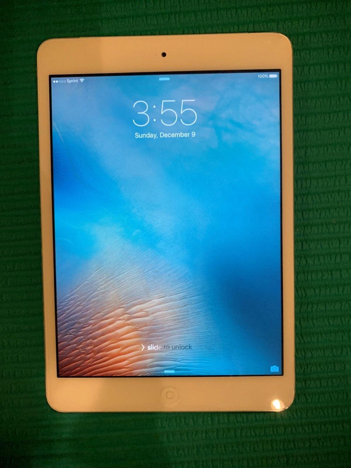 Apple iPad mini 1st Gen. 16GB, Wi-Fi + Cellular (Sprint), 7.9in - White & Silver