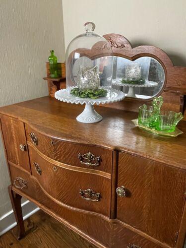 Antique Late 1800s Quarter Sawn Oak Sideboard Buffet Server