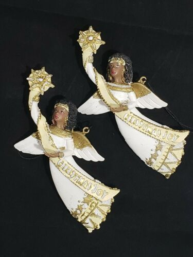 African American Angel Christmas Joy Holiday Ornament Lot Christmas