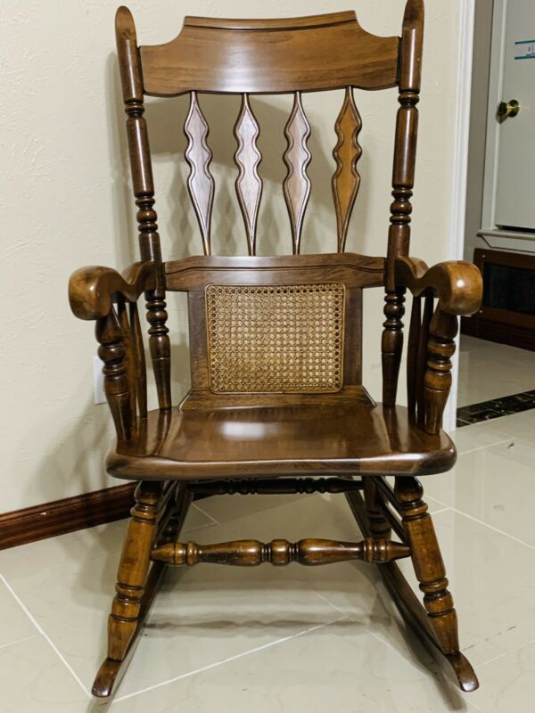 vintage wooden rocking chair, Stamped