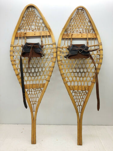 """Antique Vintage 14"""" X 46"""" Snowshoes Usable or Decor - Free Shipping"""
