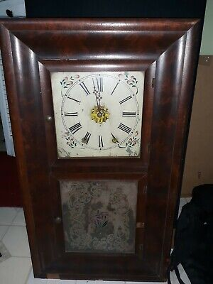 Antique 1860s Waterbury Painted Glass 8 Day Shelf Mantle Clock PARTS REPAIR