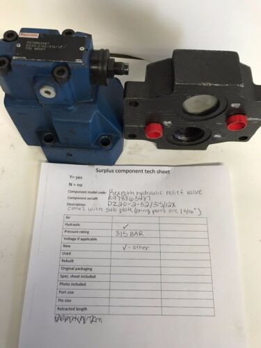 HYDRAULIC RELIEF VALVE DZ20-2-52/ 315/ 12X with SUB PLATE (Rexroth)