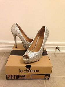 Silver glitter wedding or prom shoes sz 7