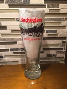 Vintage Christmas Budweiser Clydesdale Beer Pilsner Glass 1989