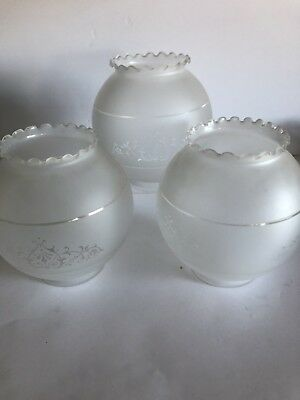 3 Vintage Frosted , Art Glass Globes #11-6