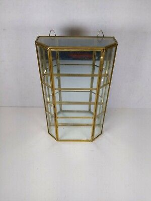9.5 Glass Display Curio Case Cabinet Mirrored Brass Wall Hanging Latch Front