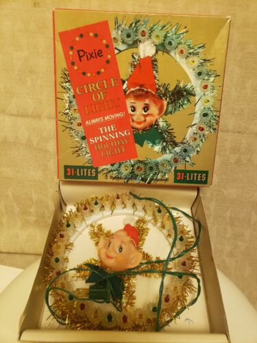 Vintage Pixie Elf Circle of Light The Spinning Holiday Light up Wreath, 31 Lites