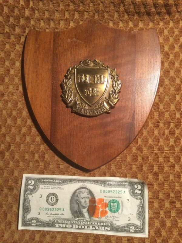 Great Small Vintage HARVARD College wood plaque