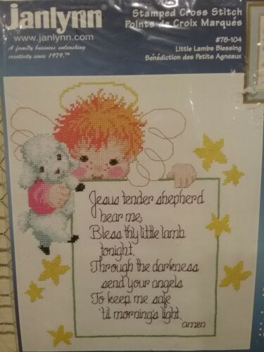 Janlynn Stamped Cross Stitch Little Lambs Blessing New