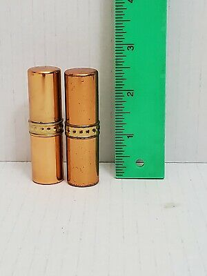 """Lot 2 Vintage Germaine Monteil Lipstick Lip Color Tubes Copper Color 2.5"""""""