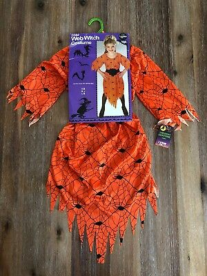 NWT Rubies Little Girl's Witch Costume Medium Orange Spider Web Halloween - Little Girl Witch