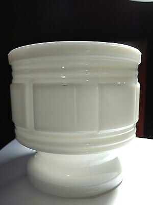 Vintage Randall Milk Glass Geometric Block Footed Flower Pot/Planter/Vase