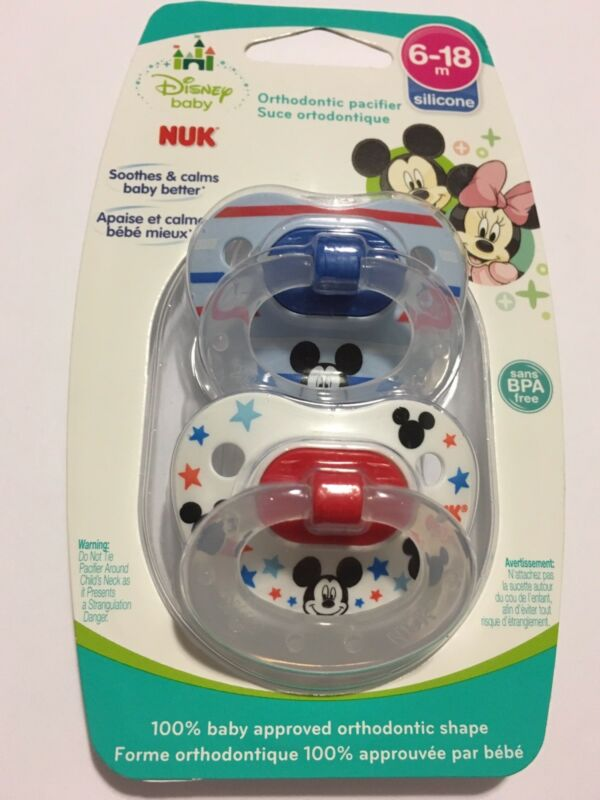 6-18M Disney Baby Mickey Mouse 2-Pack Orthodontic Pacifiers From Nuk Size 2