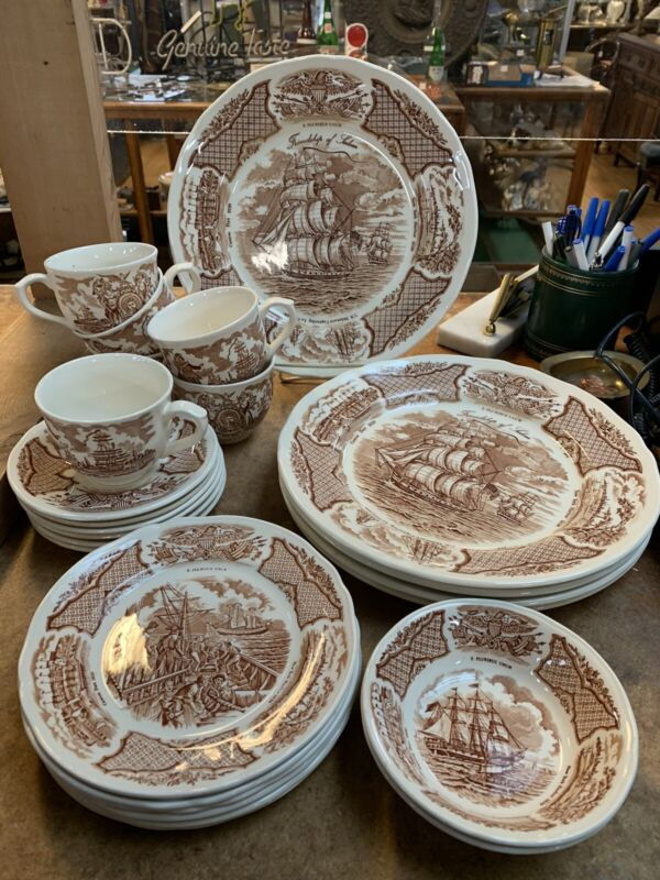 25 piece Set ALFRED MEAKIN Fair Winds China Brown Transfer ware Nautical
