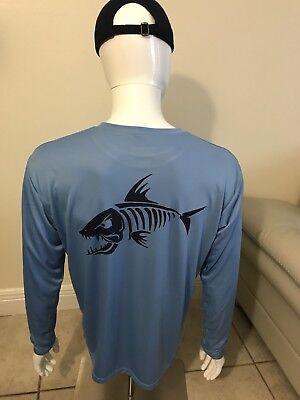 Men's customized fish design dri fit light blue long sleeve (Fishing Shirt). ()