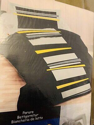Bettwäsche 160x210 / 65x100 Baumwolle Schwarz Gelb