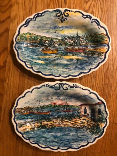2 Handpainted Decorative Plates With Boating Scenes From Mykonos, Greece