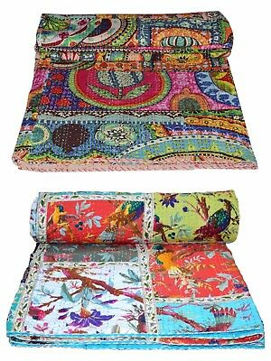 Handmade Quilt Vintage Kantha Indian Bedspread Throw Cotton Blanket Ralli Gudari Handmade Cotton Quilt Throw