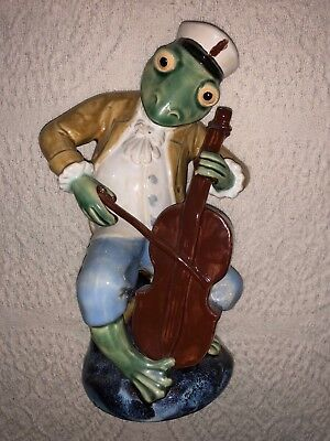 ceramic frog playing cello instrument decorative animal 10 inches tall