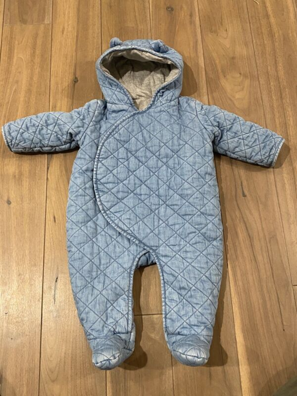 BABY GAP QUILTED DENIM BLUE COLORED HOODED SNOWSUIT 6 - 12 Months