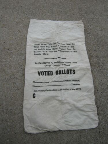 Vintage Raymond P Jaegers County Clerk Osage County MO Ballot empty cloth sack