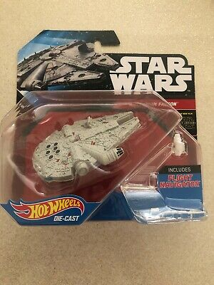 STAR WARS HOTWHEELS DIE CAST MILLENNIUM FALCON WITH FLIGHT NAVIGATOR