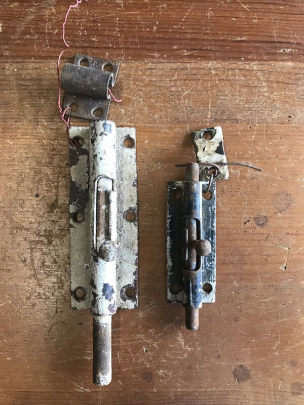 "OLD BARREL BOLT window door slide 4 1/2"" security lock vintage Antique"