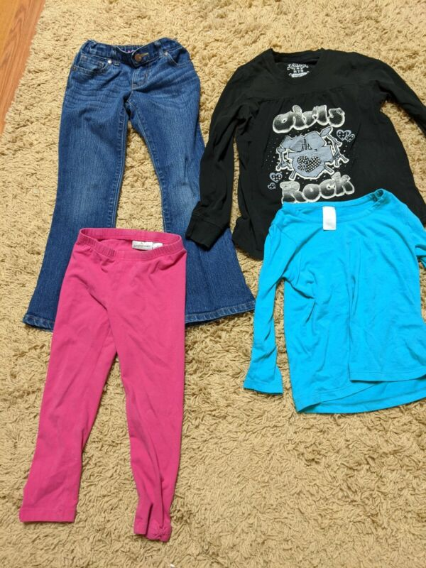 Lot Of Girls Clothes 2 Pair Of Pants And 2 Shirts